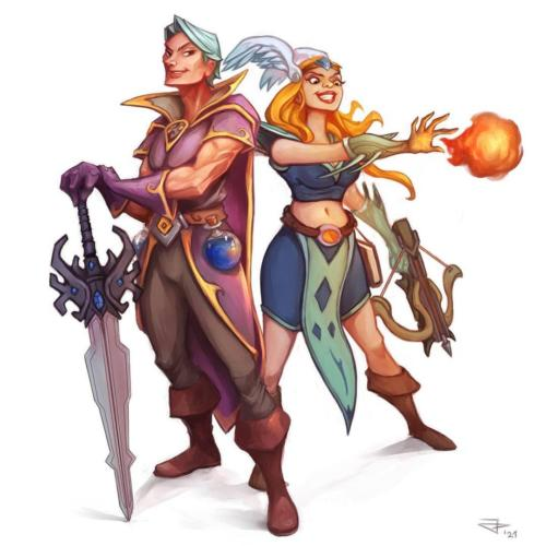 """""""Sorcerer with mele weapon and paladin using magic"""" by Jan Pedrojetta"""