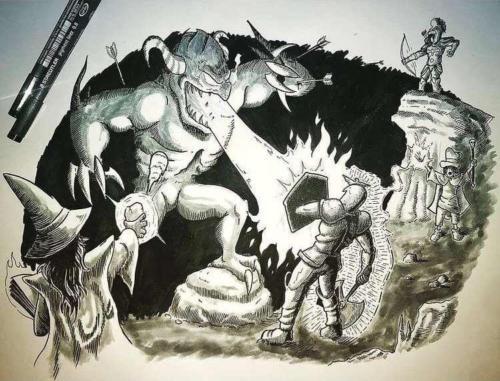 """Demon vs. 4 voc"" by The Art of Tibia"